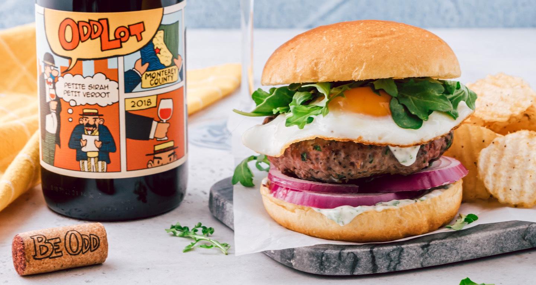 Plate of lamb burger